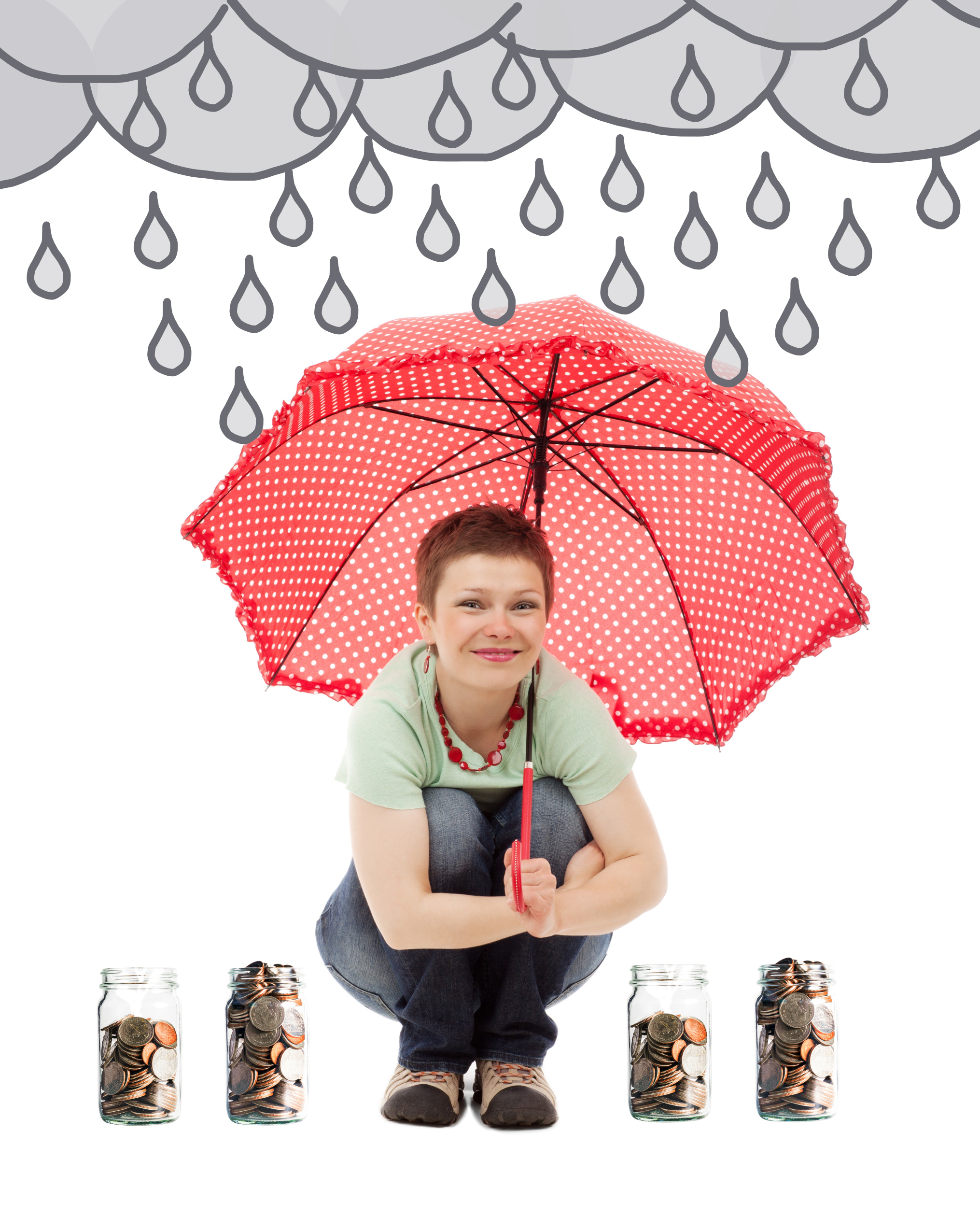 Woman under umbrella while raining surrounded by coin jars